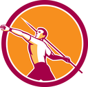 Illustration of a track and field athlete javelin throw viewed from the side set inside  circle on isolated background done in retro style.