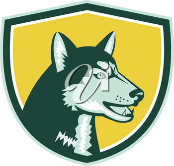 Illustration of a siberian husky dog of the spitz breed viewed from the side set inside crest shield done imn retro style on isolated bacgkround.