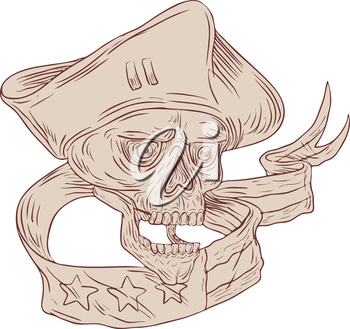 Drawing sketch style illustration of a skull patriot wearing hat viewed from front with ribbon and flag set on isolated white background.