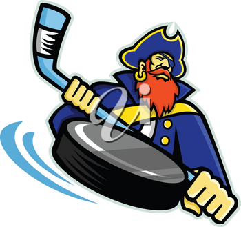 Mascot icon illustration of head of a swashbuckler, pirate, privateer or corsair with ice hockey stick and puck viewed from front on isolated background in retro style.