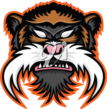 Mascot icon illustration of head of an emperor tamarin (Saguinus imperator), a species of tamarin monkey in the Amazonas viewed from front on isolated background in retro style.