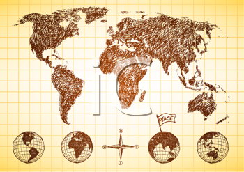 Royalty Free Clipart Image of a World Map With Globes
