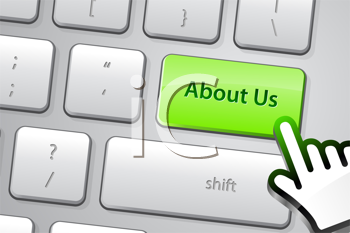 Royalty Free Clipart Image of an About Us Button a Keyboard