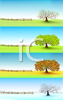 Royalty Free Clipart Image of Four Season Headers