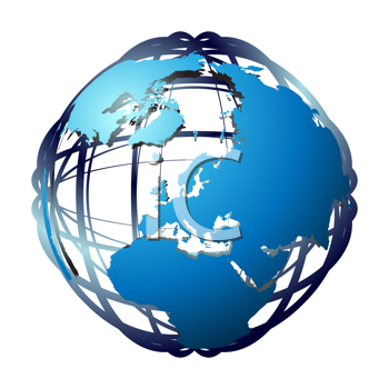 Royalty Free Clipart Image of a Map on a Wire Frame