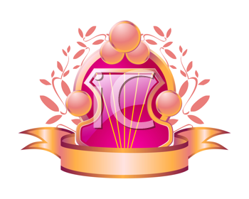 Royalty Free Clipart Image of a Pink Shield and a Ribbon
