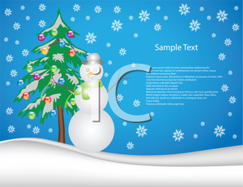 Royalty Free Clipart Image of a Winter Scene With a Christmas Tree and Snowman