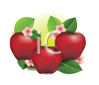 Royalty Free Clipart Image of Apples and Flowers