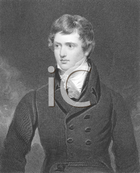 Royalty Free Photo of Edward Geoffrey Stanley, Earl of Darby (1799-1869) on engraving from the 1800s. English statesman, three times Prime Minister and longest serving leader of the Conservative Party