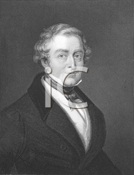 Royalty Free Photo of Robert Peel (1788-1850) on engraving from the 1800s. Conservative Prime Minister of Great Britain during 1834-1835 & 1841-1846. Engraved by W.Holl from a picture by T.Lawrence a