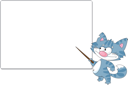 Royalty Free Clipart Image of a Cat at a Blackboard