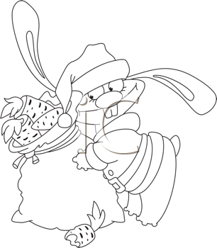 Royalty Free Clipart Image of a Rabbit Santa With a Bag of Carrots