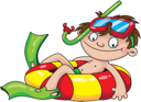 Royalty Free Clipart Image of a Child in an Inner Tube With Snorkel Equipment