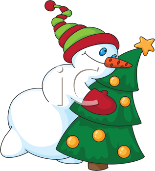 Royalty Free Clipart Image of a Snowman With a Christmas Tree
