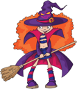 Royalty Free Clipart Image of a Girl Witch