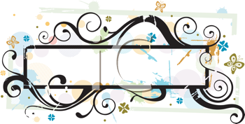 Royalty Free Clipart Image of a Vine and Butterfly Frame