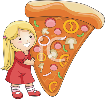 Royalty Free Clipart Image of a Girl With a Big Slice of Pizza
