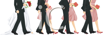 Royalty Free Clipart Image of a Bridal Recessional