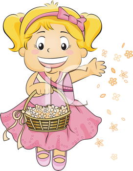 Royalty Free Clipart Image of a Girl Scattering Flower Petals