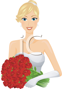 Royalty Free Clipart Image of a Bride With Flowers