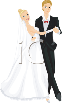 Royalty Free Clipart Image of a Dancing Bride and Groom