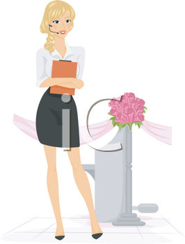 Royalty Free Clipart Image of a Wedding Planner With a Headset and Clipboard