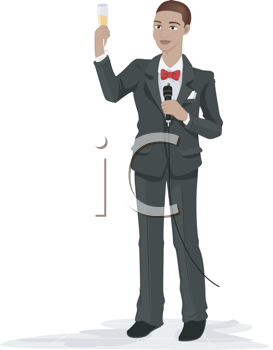 Royalty Free Clipart Image of a Man Proposing a Toast at a Wedding