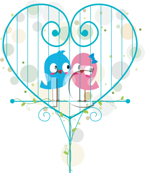 Royalty Free Clipart Image of Birds in a Cage