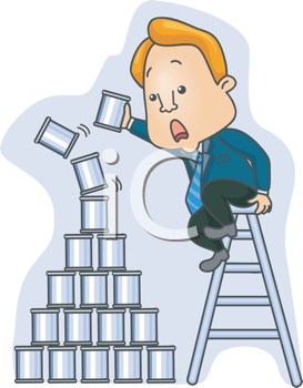 Royalty Free Clipart Image of a Man Building a Tin Can Pyramid