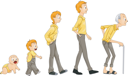 Man's Life Stages with Clipping Path