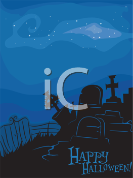 Royalty Free Clipart Image of a Happy Halloween Graveyard