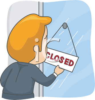 Royalty Free Clipart Image of a Man With a Closed Sign