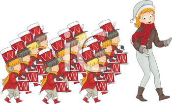 Royalty Free Clipart Image of a Girl Leading Twelve Drummers