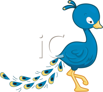 Royalty Free Clipart Image of a Peacock