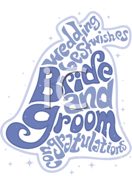 Royalty Free Clipart Image of a Bride and Groom Wedding Bell