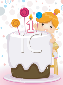 Royalty Free Clipart Image of a Child With a Huge Cake