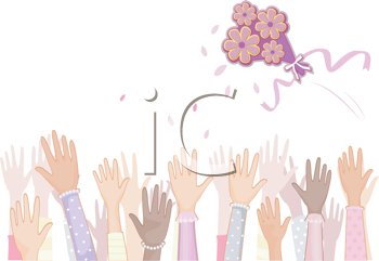 Royalty Free Clipart Image of a Bridal Bouquet Being Thrown