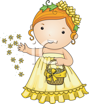 Royalty Free Clipart Image of Girl Scattering Flowers