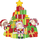 Royalty Free Clipart Image of Children Around a Tree of Christmas Presents