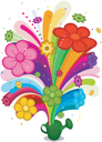 Royalty Free Clipart Image of Flowers and a Rainbow Shooting From a Watering Can
