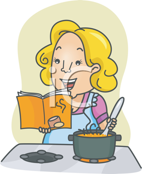 Royalty Free Clipart Image of a Woman Stirring a Pot at the Stove