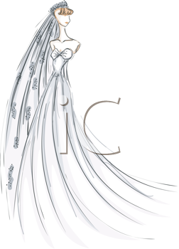 Royalty Free Clipart Image of a Bride