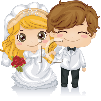 Royalty Free Clipart Image of an Anime Bride and Groom