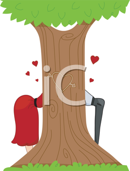 Royalty Free Clipart Image of a Couple Kissing Behind a Tree