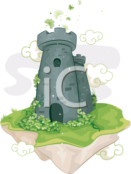 Royalty Free Clipart Image of a Floating Tower Surrounded by Shamrocks