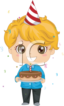 Royalty Free Clipart Image of a Child Holding a Birthday Cake