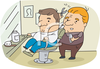 Royalty Free Clipart Image of a Barber and Client