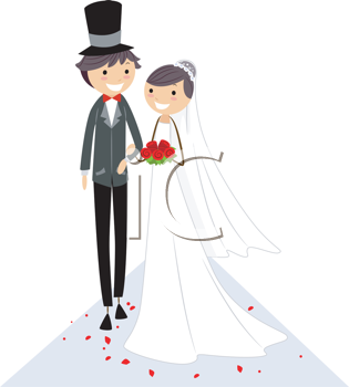 Royalty Free Clipart Image of a Bridal Couple Walking Up the Aisle