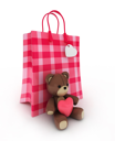 3D Illustration of a Valentine-themed Paper Bag with a Stuffed Toy Leaning Against it.