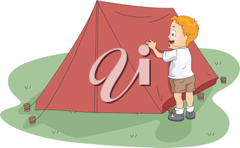 Illustration of a Kid Fixing His Tent